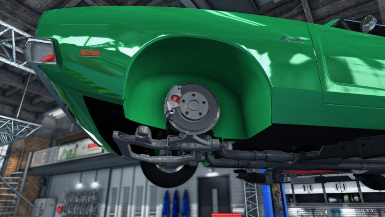 Front wheel disc brakes mounted on a car in Car Mechanic Simulator 2015, showing the pads, calliper, and ventillated disc.