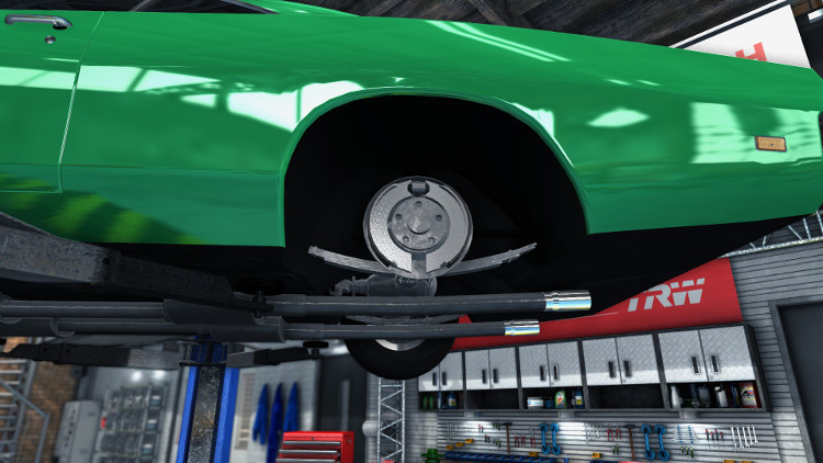 Rear wheel drum brakes in Car Mechanic Simulator 2015, showing the brake shoes and wheel cylinder.