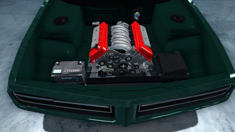 The belts and idle rollers are visible, along with the engine heads and head covers, in this frontal engine view from Car Mechanic Simulator 2015.