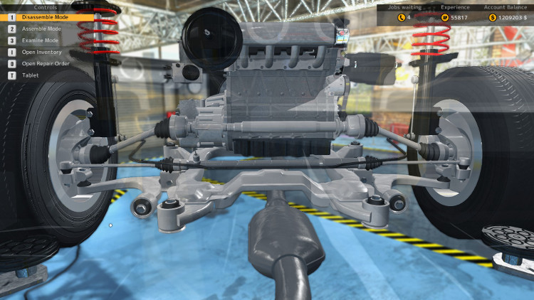 Here we have an installed gearbox with front drive axles and front drive shaft in Car Mechanic Simulator 2015.