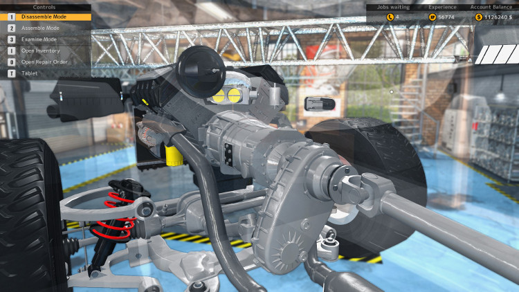 Here we have an installed gearbox with attached Transfer Case and Drive Shaft in Car Mechanic Simulator 2015.