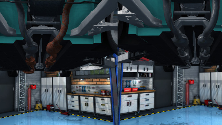 Detailed guide to Exhaust System Repair and Replacement in Car Mechanic Simulator 2015.