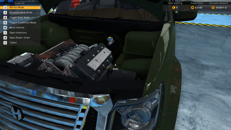 Even the engine compartment is showing only minor damage before the rebuild in this engine compartment view of the Castor Earthquake from Car Mechanic Simulator 2015.