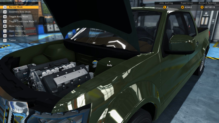 After rebuilding the Castor Earthquake in Car Mechanic SImulator 2015, the engine compartment looks as though it just arrived from the factory.