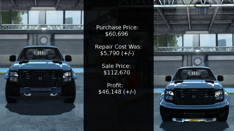 Cost vs profit is the key when rebuilding vehicles in Car Mechanic Simulator 2015. Here we see the numbers for the Castor Earthquake Rex.