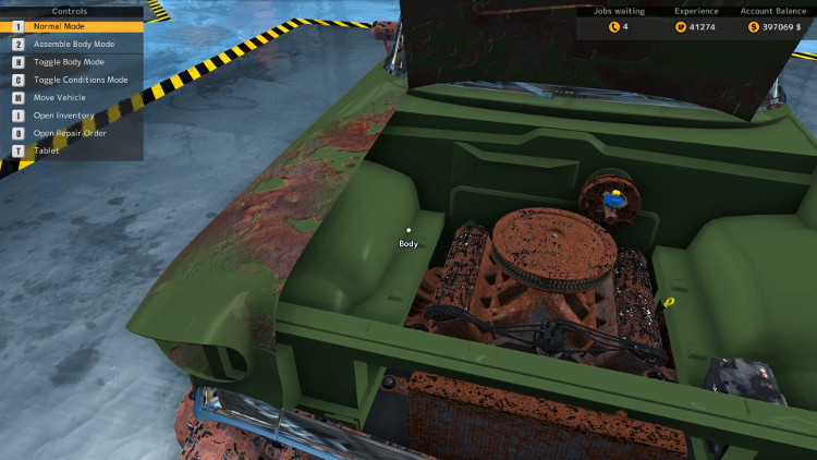 In this engine compartment view of the Delray Custom from Car Mechanic Simulator 2015 it is evident that everything under the hood has suffered severe damage.