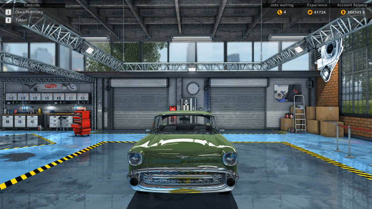 In this post-rebuild frontal view of the Delray Custom from Car Mechanic Simulator 2015 all damage to the body is gone and the car looks brand new.