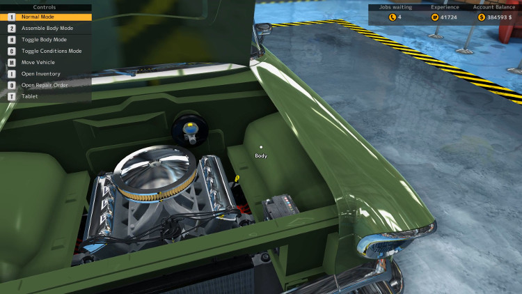 This engine compartment view of the Delray Custom from Car Mechanic Simulator 2015 shows just how good you can make this car look if you completely rebuild it.