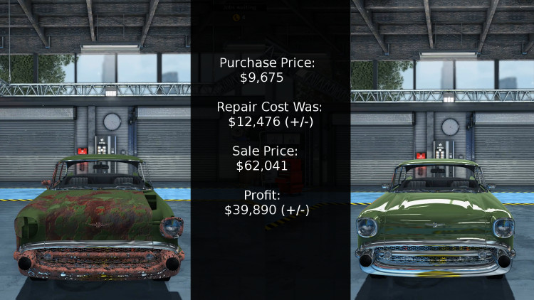 Here we have a breakdown of the cost vs profit from rebuilding a Delray Custom in Car Mechanic Simulator 2015.