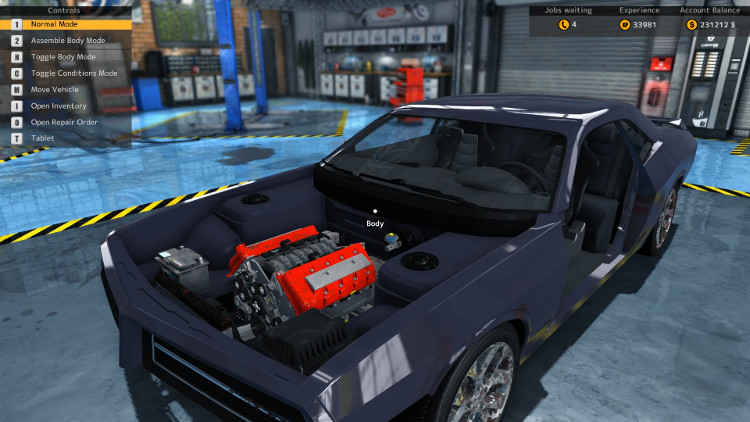 In this view of the Delray Imperator from Car Mechanic Simulator 2015 before the rebuild, the engine compartment looks to be in fairly decent shape. However, it is also clear that even more components of the body are missing.