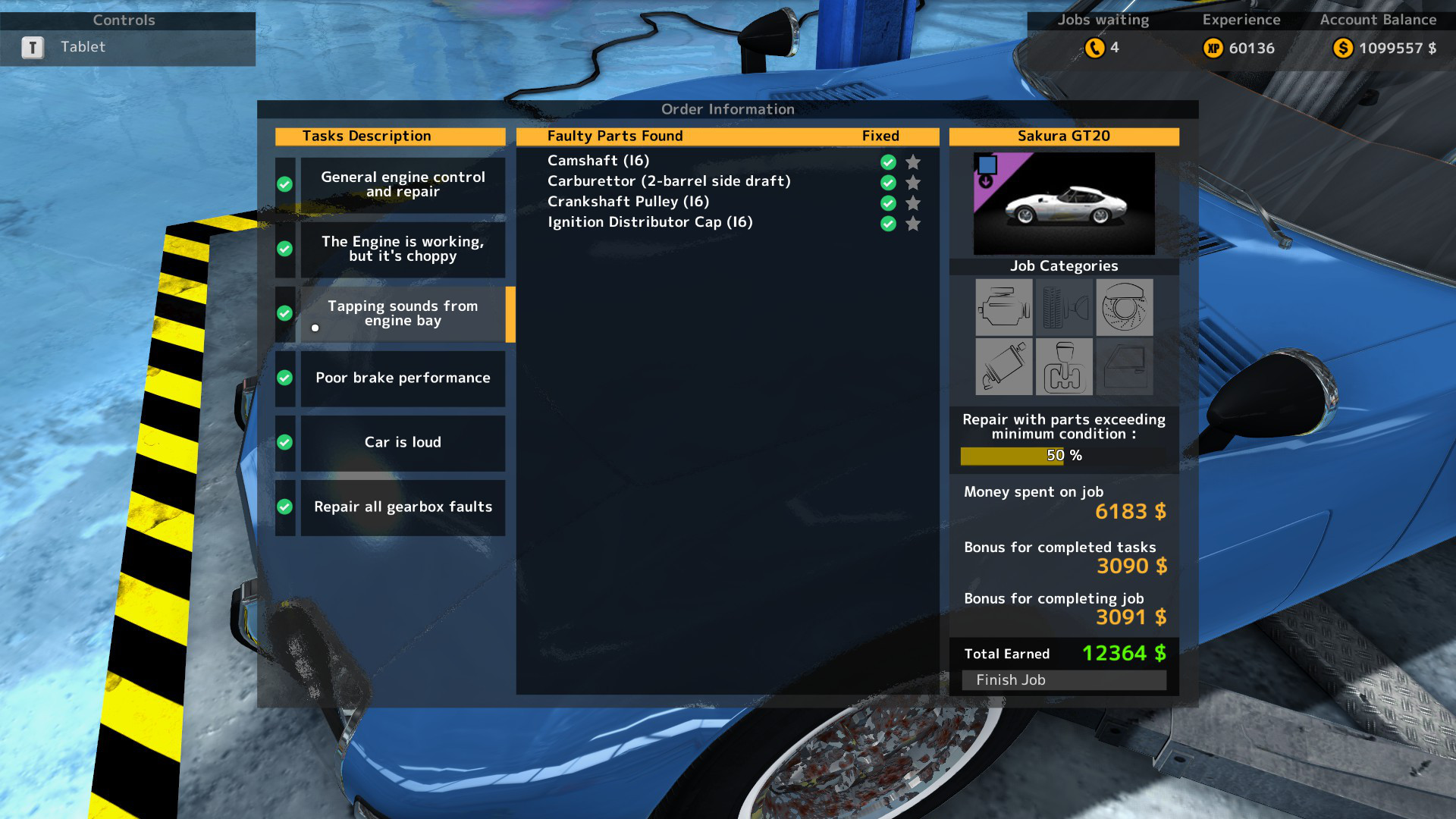 Here is a sample order for the problem Tapping Sounds from Engine Bay in Car Mechanic Simulator 2015.