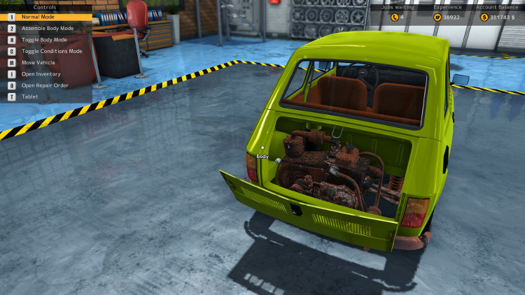 The engine in this view of a Maluch from Car Mechanic Simulator 2015 shows just how badly damaged this car's engine is before the rebuild.