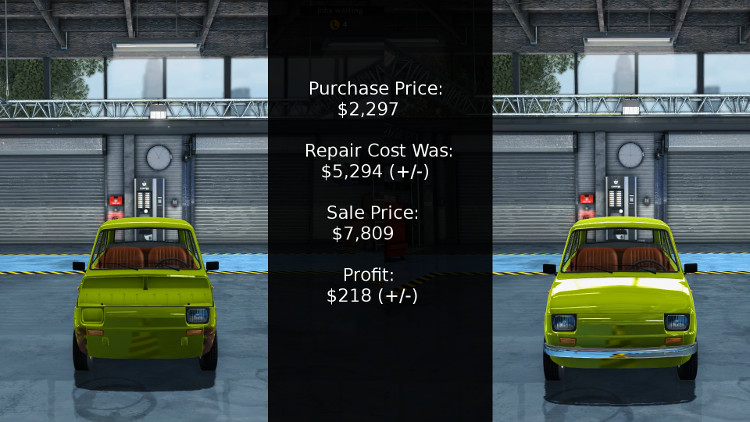 The cost vs profit breakdown of rebuilding a Maluch in Car Mechanic Simulator 2015.