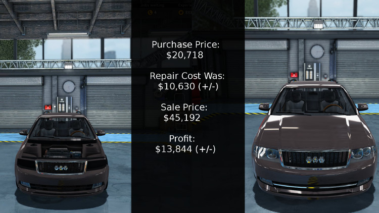 This is the bottom line for the cost and profit of rebuilding this Mayen M6 from Car Mechanic Simulator 2015.