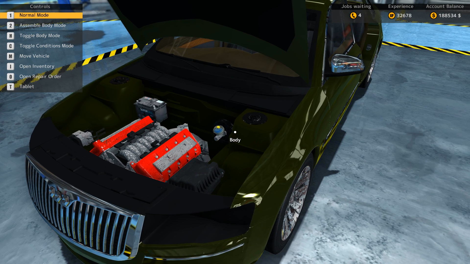 Only minor damage is visible in this engine compartment view of the Mayen M8 from Car Mechanic Simulator 2015.