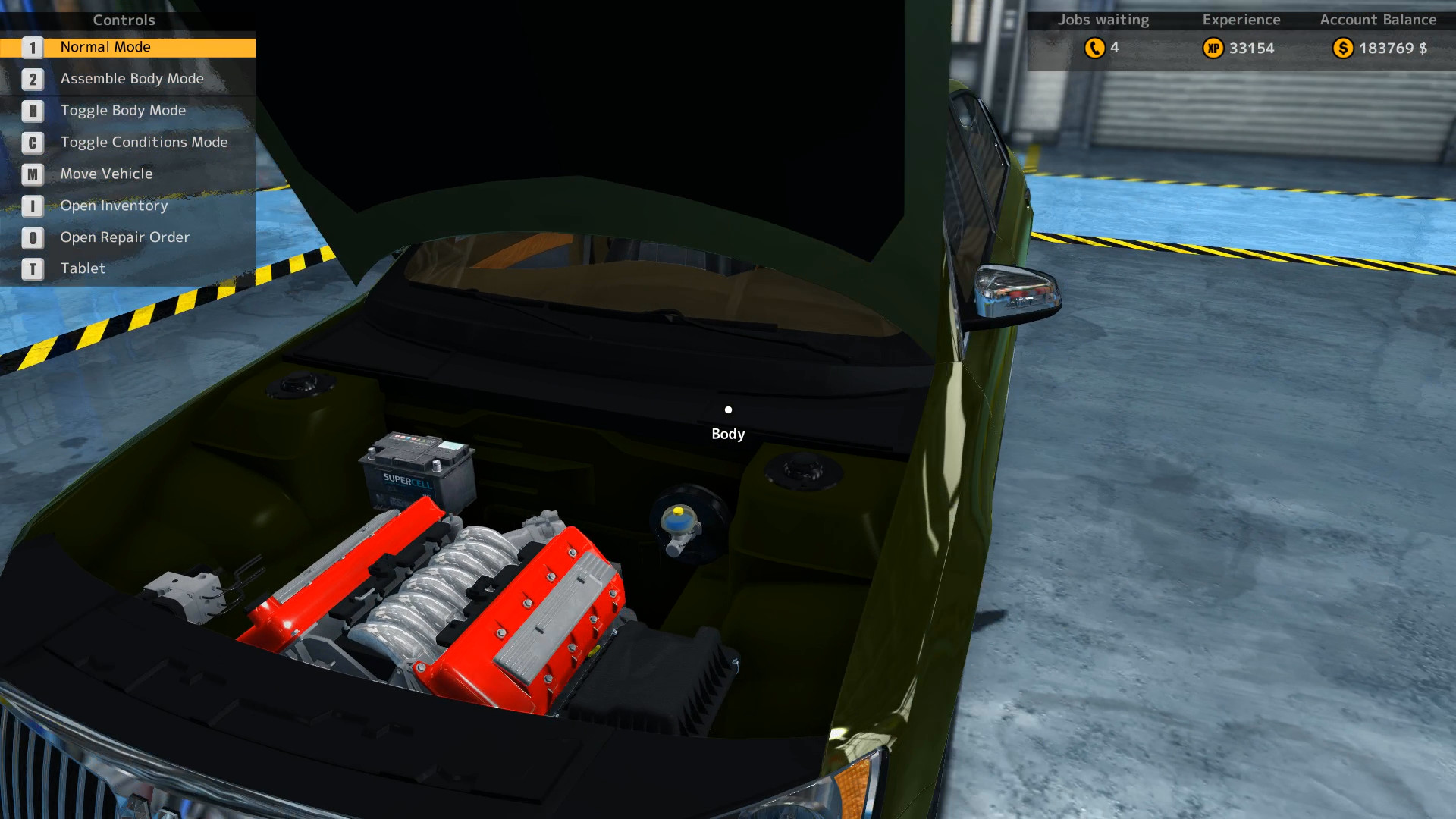 Here we see a mint condition engine compartment in the view of the Mayen M8 from Car Mechanic Simulator 2015. This image was taken after a complete rebuild of the car.