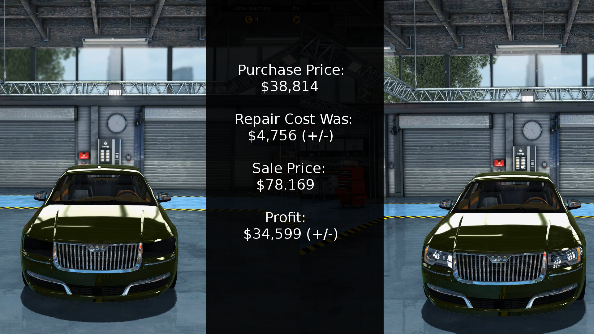 Here we have the numbers for this complete rebuild of a Mayen M8 from Car Mechanic Simulator 2015. along with before and after images of the front of the vehicle.