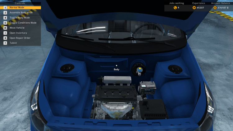 Here we have the Engine Compartment of the Rino Piccolo after a complete rebuild in Car Mechanic Simulator 2015.
