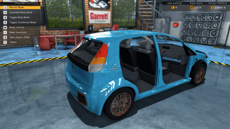 This side view of the Royale Binaco from Car Mechanic Simulator 2015 is more revealing and shows that more of the body is simply missing from the car. It is also clear that the rims are in terrible shape.