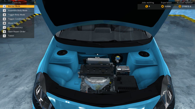 The Royal Bianco's Engine Compartment after a complete rebuild in Car Mechanic Simulator 2015.