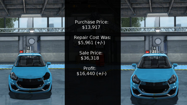The cost vs proft breakdown for rebuilding the Royale Bianco from Car Mechanic Simulator 2015.