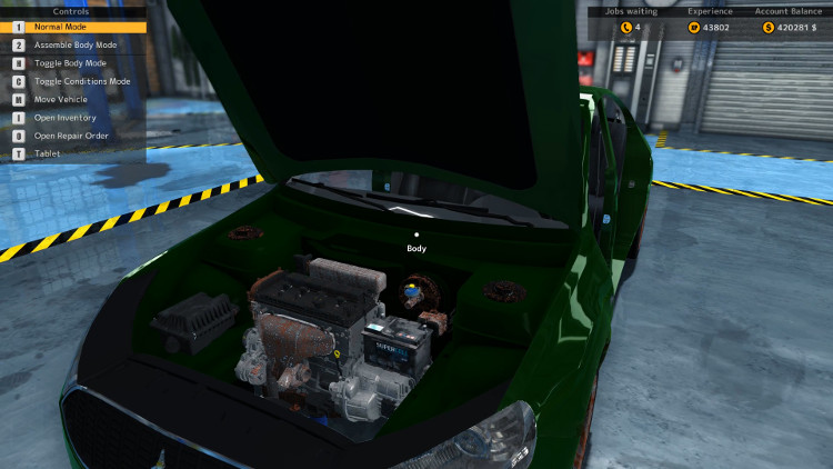 Only minor damage to the components is visible in this pre-rebuild view of the engine compartment of the Royale Crown from Car Mechanic Simulator 2015.