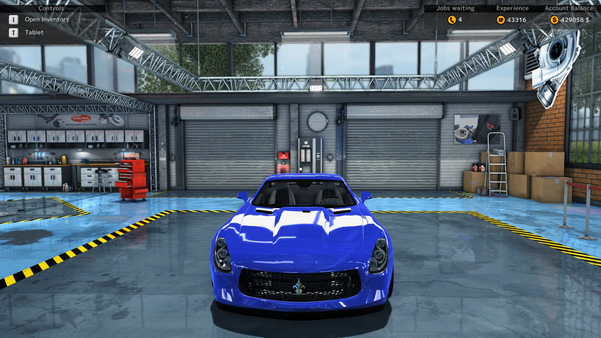 Frontal view of the Royale GTR from Car Mechanic Simulator 2015 after a complete rebuild.