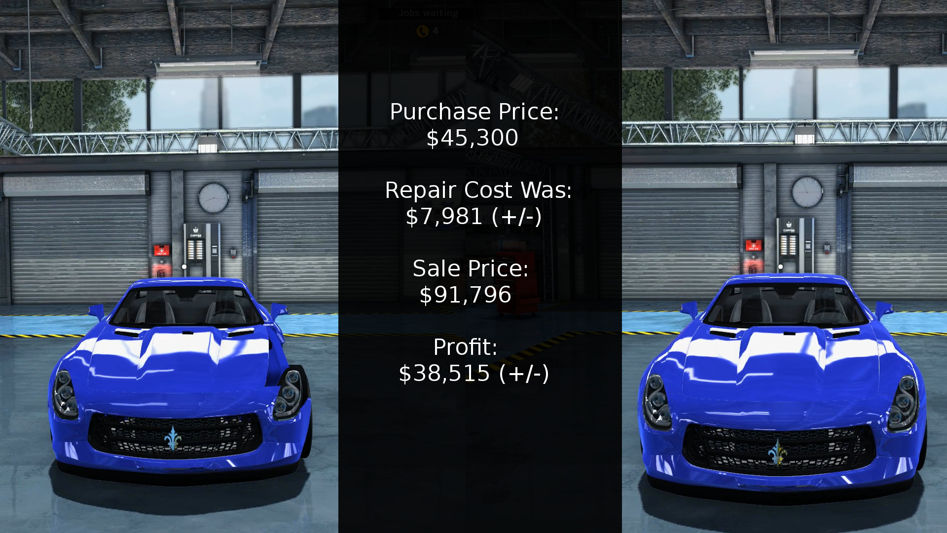 Breakdown of the cost vs profit for rebuilding the Royale GTR in Car Mechanic Simulator 2015.