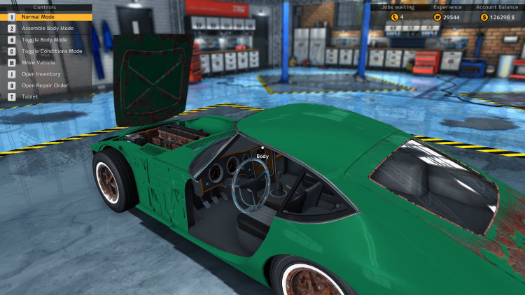 This is a side view of the Sakura GT20 from Car Mechanic Simulator 2015 before it was rebuilt. The rust is obvious as are missing parts.