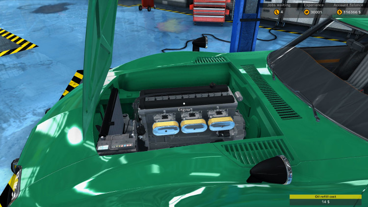 After a full rebuild, the engine and engine compartment of the Sakura GT20 from Car Mechanic Simulator 2015 look great.