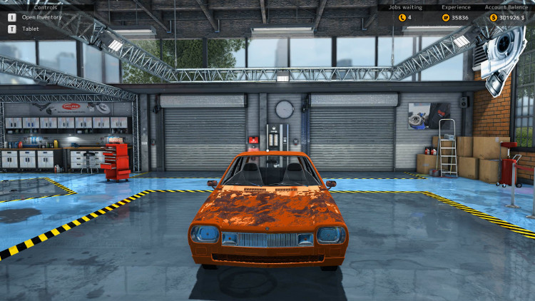 In this front side view of the Salem Flamo from Car Mechanic Simulator 2015, it is easy to see that the body is badly rusted and the front bumper is missing.