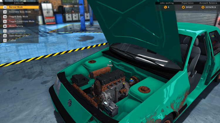 This engine compartment view of the Salem Kieran from Car Mechanic Simulator 2015 shows severe damage to several components before the rebuild.