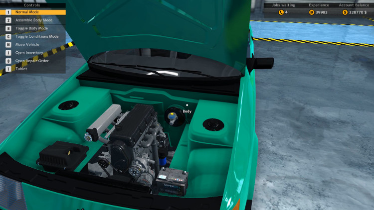 Engine compartment view of the Salem Kieran from Car Mechanic Simulator 2015 after a complete rebuild.