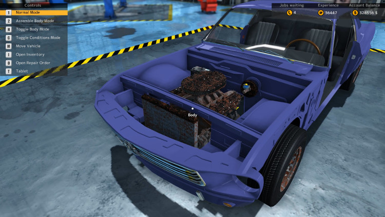 In this engine compartment view of the Salem Spectre Fastback from Car Mechanic Simulator 2015 it is easy to see that the engine compartment components are damaged. They are in better condition than the body.