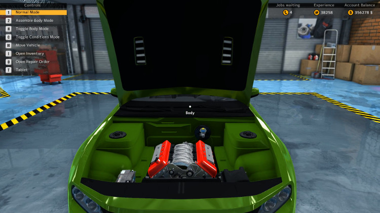Here we have a shot of the Engine Compartment of a Salem Spectre from Car Mechanic Simulator 2015 after the car has been completely rebuilt.