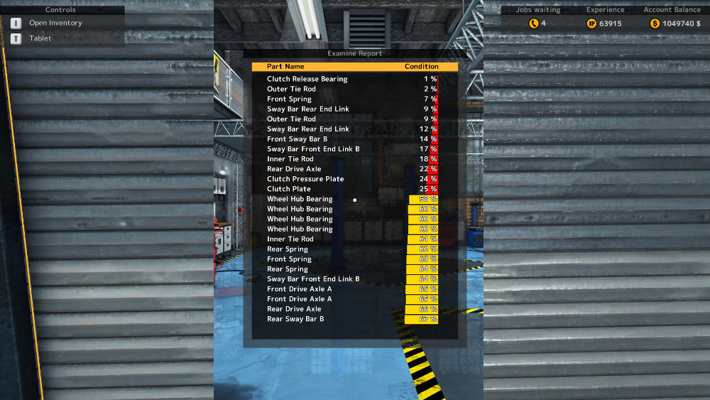 There are results from a test drive in Car Mechanic Simulator 2015.