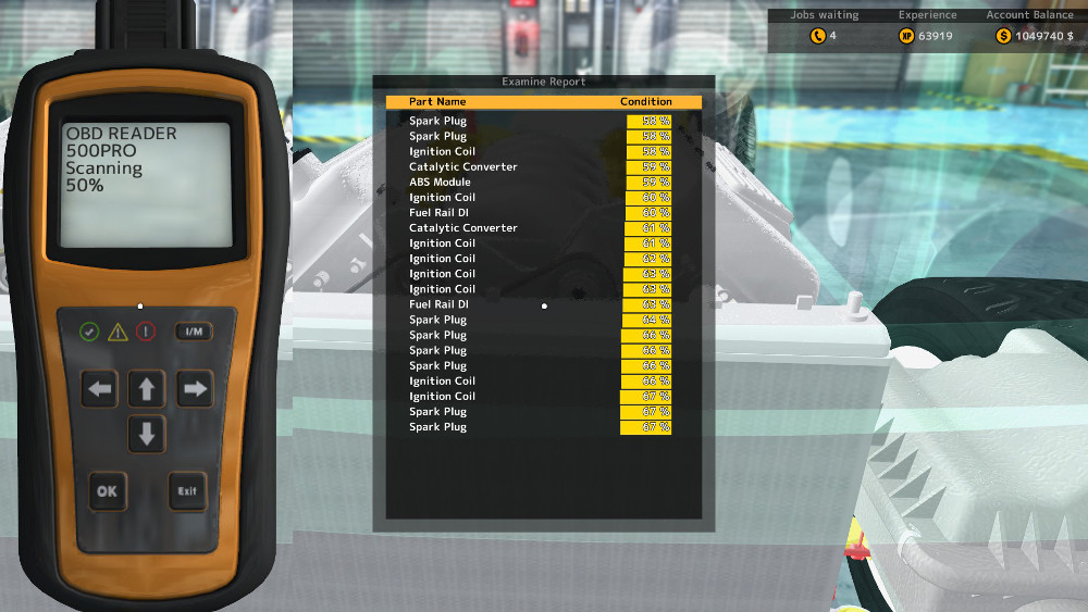These are the results of using the OBD Scanner on a vehicle in Car Mechanic Simulator 2015. Keep in mind it is also refered to as the OBD Scanner.